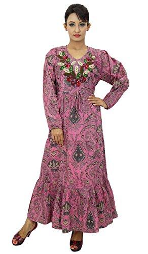 Frauen Sommerkleid Cotton indischen Kleid Blumendruck-lange beiläufige (Indische Kleid Lange)