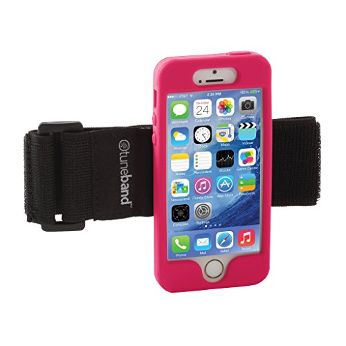 TuneBand for iPhone 5S, Grantwood Technologys Armband, Silicone Skin, and Screen Protector, BLACK Pink