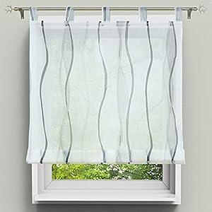 HongYa Raffrollo mit Wellen Druck Transparenter Voile Raffgardine Vorhang mit Schlaufen H/B 140/60 cm Weiß Silber