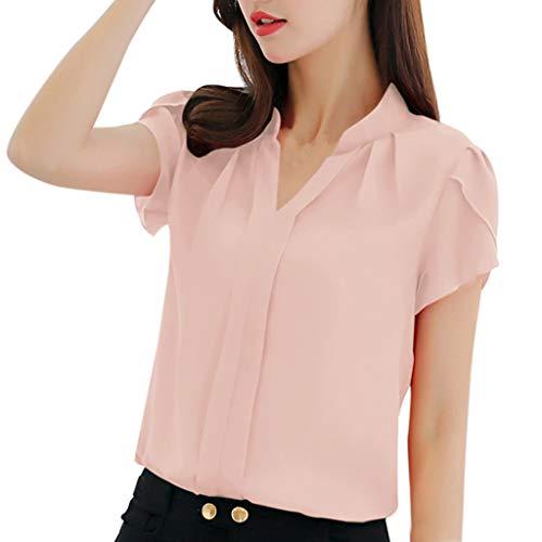 Dorical Damen Große Größe Elegant Chiffonshirt Oberteil Casual Sommer Kurzarm V-Ausschnitt Einfarbig Blusen T-Shirt Tops Blouse S-3XL(Rosa,Large)
