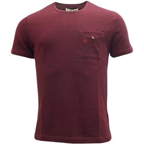 T-shirt Original Penguin Clines Houndstooth pour homme en bordeaux