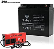 20A Rechargeable Battery with Inverter 12V-220V, 20A Battery for camping 20000mah Power