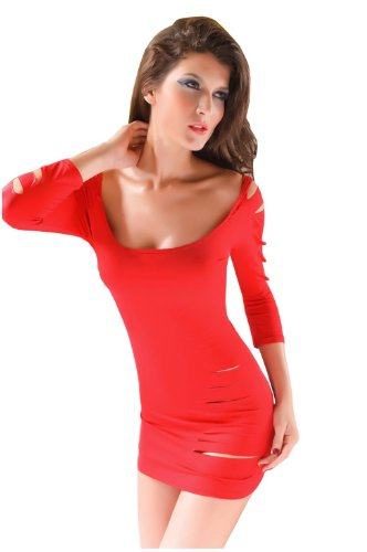 Dissa® nouveau Elastic Près du corps manches longues Robe de soirée, Rouge Rouge