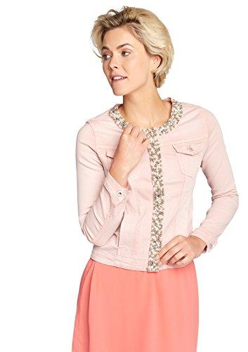 LOLALIZA Denim Jacket Cristals & Strass - Light Pink - Size M (Snap Denim-pearl)