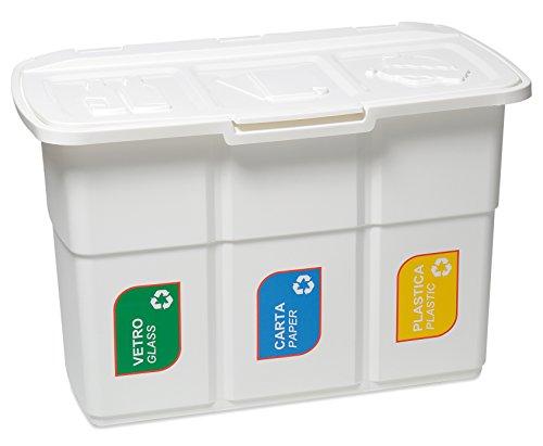 *DEA Home Mülltrennsystem #Z433 – 3 x 25 Liter Inhalt weiß*