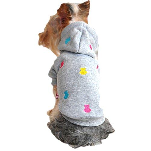 YiJee Haustier Hunde Kleidung Winter Warm Mantel Welpen Hoodie Sweatshirts Grau XXS