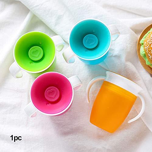 Baby Trainer Cup Borraccia per bambini prova di perdite 360 gradi con doppio manico silicone per neonati e bambini