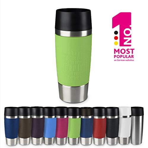 Emsa 513548 Travel Mug Standard-Design, Thermobecher/Isolierbecher, 360ml, hält 4h heiß/ 8h kalt, 100{6cad6e09cc10b928f8b6e204961d06ea66f4ba801c709a1b764462153956ae17} dicht, auslaufsicher, Easy Quick-Press-Verschluss, 360°-Trinköffnung, Farbe limette