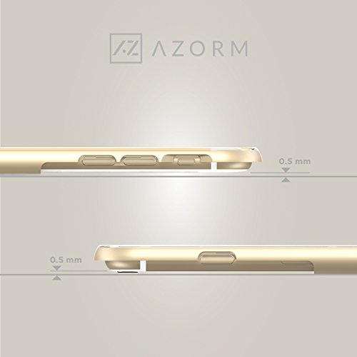 Azorm Handyhülle für iPhone 6 / 6s Plus, Hybrid Edition Smartphone Hülle mit Displayschutz und Mikrofasertuch, Bumper Schutzhülle Anti-Rutsch und Kratzfest, Silikon Rückseite Transparent - Silber Hybrid Edition - Gold