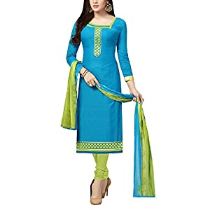 MRINALIKA FASHION Women's Cotton and Crush Unstitched Salwar Suit (KBL82004, Blue, Free Size)