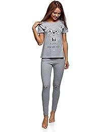 oodji Ultra Mujer Pijama de Algodón con Mallas