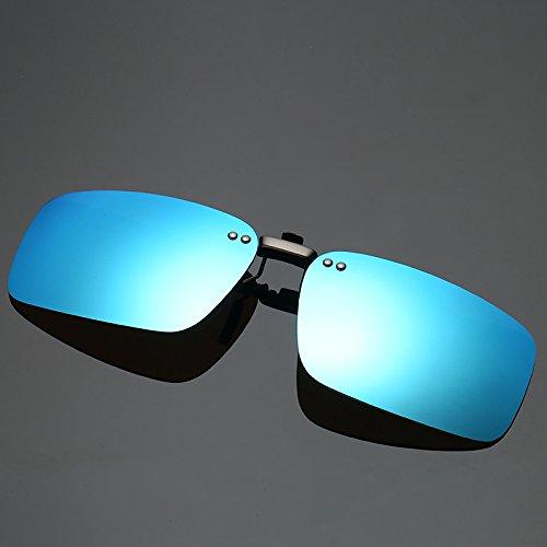 ZX Clip-on Sonnenbrille, Outdoor-Fahren Angeln Radfahren Vision Objektiv Anti-UVA Anti-UV-Sonnenbrille polarisierte Clip für Männer Frauen (Color : Blue)
