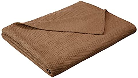 Superior 100% Cotton Thermal Blanket, Soft and Breathable Cotton for All Seasons, Bed Blanket and Oversized Throw Blanket with Metro Herringbone Weave Pattern - Twin Size, Taupe