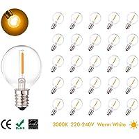 25 Pcs 1W E14 bombillas LED, (equivalente halógeno 7W) blanco cálido, 220V-240V, 360 bombillas LED ángulo de haz para las luces de la secuencia a prueba de mal tiempo G40, iluminación del hogar
