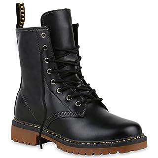 Derbe Damen Stiefeletten Worker Boots Profilsohle Camouflage Stiefel Schnür Animal Print Schuhe 126907 Schwarz 38 Flandell