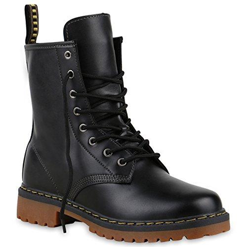 Derbe Damen Stiefeletten | Worker Boots Profilsohle| Camouflage Stiefel | Schnürschuhe Animal Print Schwarz