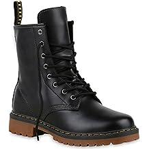 Damen Herren Kinder | Unisex Stiefeletten | Worker Boots Profilsohle | Camouflage Stiefel Nieten | Schnürstiefeletten Übergrößen | Flandell®