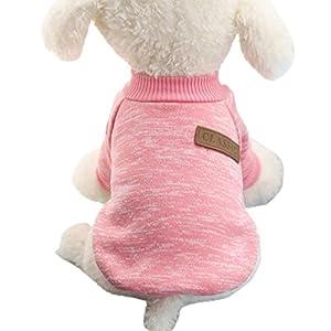 Haustierkleidung,Haustier Hund Katze Classic Sweater Pullover Kleidung Warm Sweater Winter (Rosa, M)
