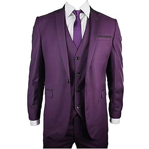 MYS Men's Custom Made Bridegroom Wedding Suit Vest and Pants Set Purple Tailored