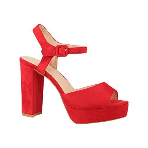 Elara Damen Pumps | Bequeme Peep-Toe Pumps | Trendige Plateau High Heels | Chunkyrayan AT0983 Red-39