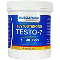 Muscleform TESTO 7 Testosterone Booster Research proven ingredients with the correct fully declared levels of 7 active ingredients including a full 3000mg of DAA and 1500mg of ZMA® (180g, Lemon Zing) | Free Express Delivery