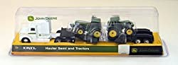 John Deere Farm Hauler Semi and 2 Bonus Tractors with Removable Trailer Play Set 1:64 Scale