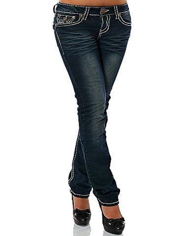 Damen Jeans Straight Leg (Gerades Bein Dicke Nähte Naht 17 Farben) No 12923,