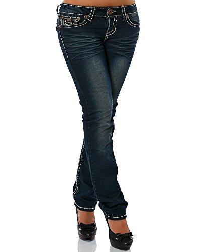 Damen Jeans Straight Leg (Gerades Bein Dicke Nähte Naht 17 Farben) No 12923, Größe:40;Farbe:Dunkelblau