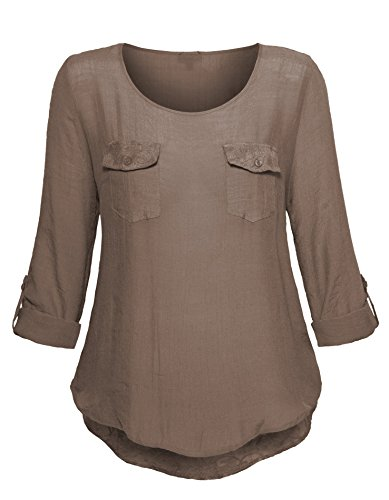 Femmes blouse top avec poches poitrine top à manches 3/4 taille plus Désert de sable