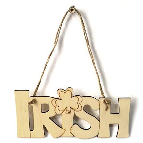 sunhoyu Holz-Scheiben,Hölzerne DIY St. Patrick's Day Irish Clover Anhänger Kleiderbügel dekorative hängende Plaque Zeichen Party Home Wand-Dekor