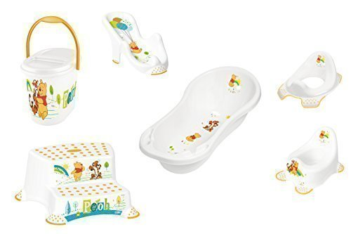 "Set of 6 Z Winnie Pooh Bathtub XXL 39.37"" White Bath Seat Potty Toilet Seat Adapter 2 Level Stool Diaper Pail New"