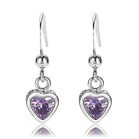 Rizilia Jewellery Heart Cut Purple Amethyst Color Gemstones Fine CZ 18K White gold Plated Dangle Earrings Simple Modern Elegance [Free Jewelry