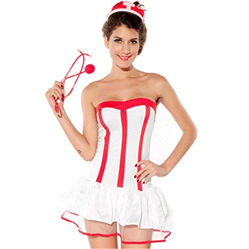 Plus Size Kostüm Stewardess (Addfect Kostüme Damen Frauen erotik Sexy Schwester Uniformen Spielen Lingerie Set -Ohne)