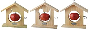 Wooden Fruit Feeder With Circle Bird or Apple Shaped Hole from Fallen Fruits