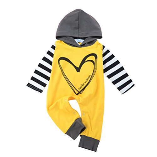Babybodys Heart Bedrucken Hirolan Neugeborene Langarmshirt Walkoverall Babykleidung Plüschanzug Säugling Strampler Streifen Kinder Kapuzenpullover Baumwolle Outfits (Gelb, 70)