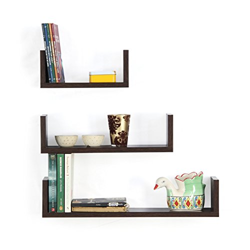 Forzza Ronald Wall Shelf, Set of 3 (Matte Finish, Wenge)