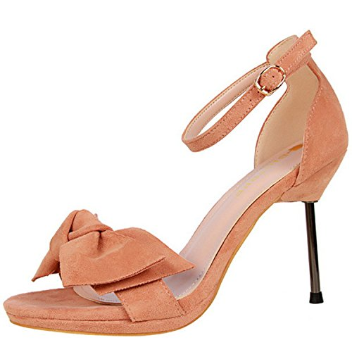 Azbro Women's Open Toe Bow Ankle Strap High Heels Sandals Nude