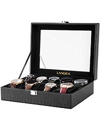 LANGRIA Caja para Relojes en Piel Cocodrilo Sintética de 9 Compartimentos con 9 Cojines Extraíbles y