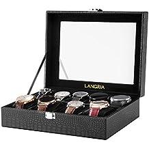 LANGRIA Caja para Relojes en Piel Cocodrilo Sintética de 9 Compartimentos con 9 Cojines Extraíbles y Accesorios Interior Aterciopelado Tapa de Cristal Cierre Metálica (Negro/Interior Negro)