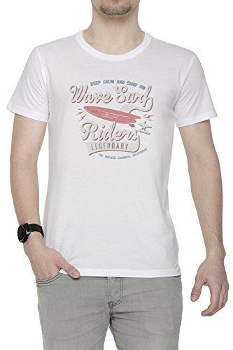 Wave Surf Riders Legendary Uomo T-shirt Bianco Cotone Girocollo Maniche Corte White Men's T-shirt