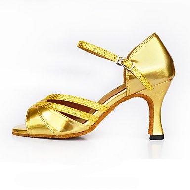 Scarpe da ballo-Personalizzabile-Da donna-Balli latino-americani Danza moderna Salsa-Tacco su misura-Scamosciato Di pelle-Nero Blu Gold