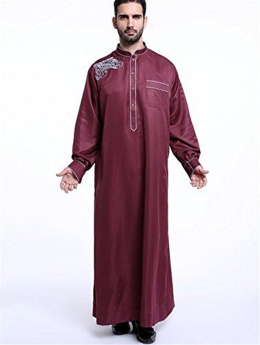 Dreamskull Muslim Abaya Dubai Muslimisch Islamisch Arab Arabisch Indien Türkisch Casual Festlich Kaftan Robe Kleid Maxikleid Herren Männer Weinrot