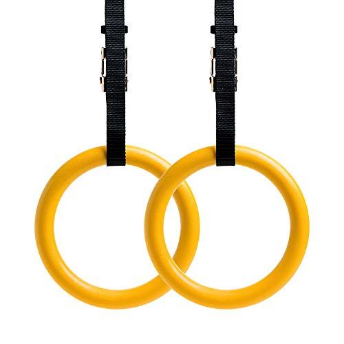 REEHUT Gymnastikring emitverstellbaren Riemen, Metallschnallen & Manual - Home Gym (2er Set) - rutschfest - Ideal für Training, Krafttraining, Fitness, Pull Ups und Dips - Gelb