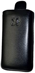 Original Suncase Echt Ledertasche (Lasche mit Rückzugfunktion) für Samsung Galaxy Pocket S5300 / Pocket Plus S5301 in schwarz