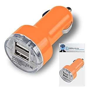 Orange Dual 2.1 / 1 Amp [ 3.1A ] Compact Fast Charge 2 x USB Ports Car Charger Adapter For Kazam Trooper X3.5