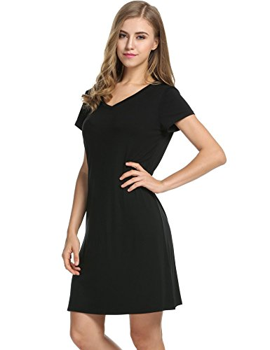 Avidlove donna con scollo a v camicia da notte manica corta Shift solido sciolto Nightwear Sleepwear pigiama Nero