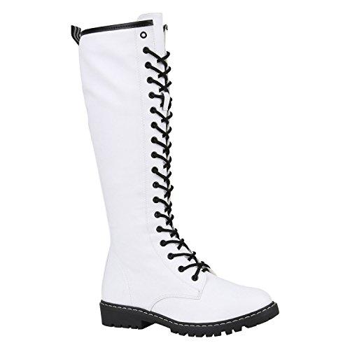 Damen Stiefel Profilsohle Blockabsatz Schnürstiefel Schuhe 148845 Weiss Matt 38 Flandell