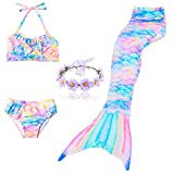 DAXIANG 3 Pièces Maillot de Bain Princesse Queue de Sirène Mermaid Bikini(Il y a la...