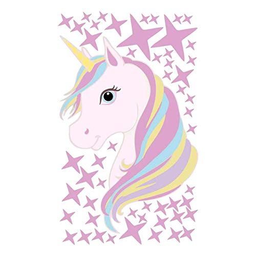 Xianhuzhenzhen Magisch Einhorn Pferd Wandaufkleber Bunt Tiere Pferd Stars Wand Sticker für Kinder Mädchen Zimmer DIY Plakat Tapete Heim Dekor - Pferd Zimmer Dekor Mädchen Für