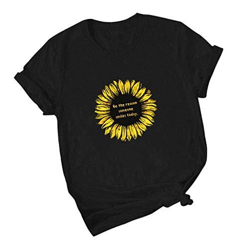 yazidan Be The Reason Someone Smile Today T-Shirt Damen Große Größen Rundhals Sonnenblume Drucken Briefdruck Kurzarm Frauen Oberteil Teenager Mädchen Tops Hemd Blusen S-5XL